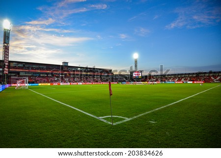 NONTHABURI THAILAND-Jul02:View of SCG Stadium during the Toyota League Cup between SCG Muangthong Utd and Buriram United at SCG Stadium on July02,2014,Thailand