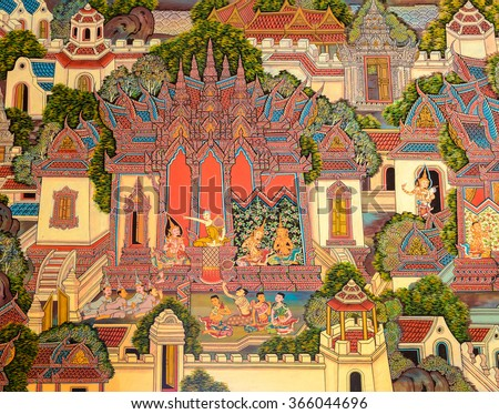 NONTHABURI, THAILAND - JULY 25, 2015 : Ancient Buddhist temple mural painting of the life of Buddha inside of Wat Bot Bon in Nonthaburi, Thailand.