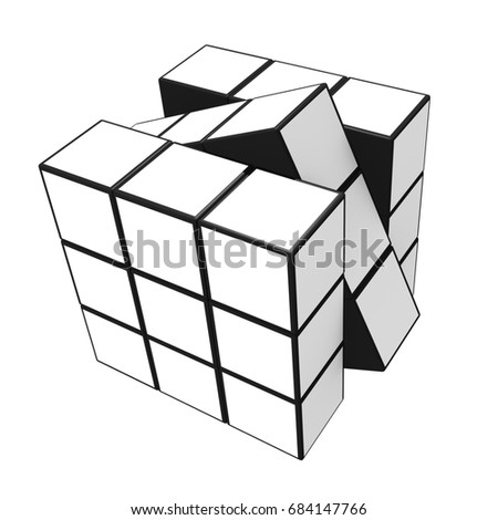 Nonthaburi, Thailand - July 26, 2017: 3D cubes isolated on a white background / 3D illustration.