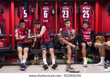 NONTHABURI THAILAND-JULY 25:Players of Muangthong Utd in action during athletic dressing rooms before Thai Premier League between Muangthong Utd.and Saraburi FC at SCG Stadium on July 25,2015,Thailand - stock photo