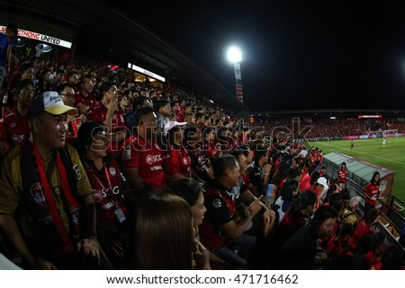 NONTHABURI-THAILAND JULY24:Unidentified fans of Muangthong Utd supporters during Thai Premier League 2016 Muangthong Utd and Buriram UTD at SCG Stadium on July24,2016 in Nonthaburi,Thailand