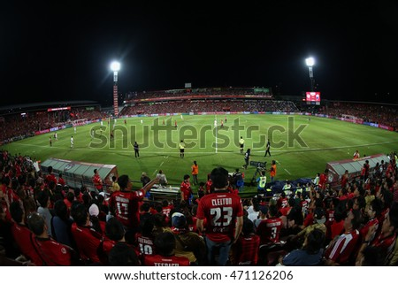NONTHABURI-THAILAND JULY24:View of SCG Stadium during Thai Premier League 2016 Muangthong Utd and Buriram UTD at SCG Stadium on July24,2016 in Nonthaburi,Thailand