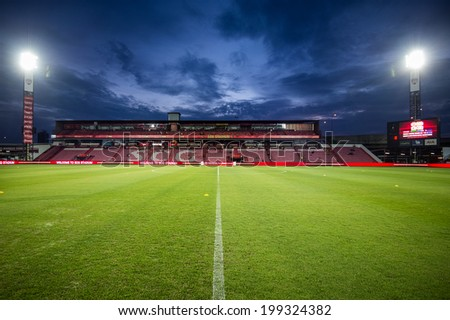 NONTHABURI THAILAND-JUN14:View of SCG Stadium during a Thai Premier League between SCG Muangthong Utd and Osotspa M-150 Saraburi F.C. at SCG Stadium on June 14,2014,Thailand