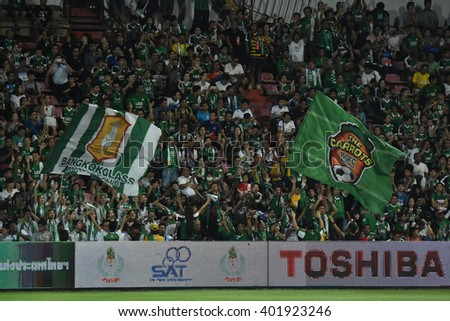 NONTHABURI-THAILAND MAR9:Unidentified fans of Bangkok Glass FC supporters during Thai Premier League 2016 Muangthong Utd and Bangkok Glass FC at SCG Stadium on March 9,2016 in Nonthaburi,Thailand - stock photo