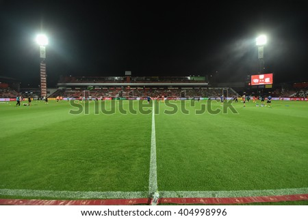 NONTHABURI-THAILAND MAR9:View of  SCG Stadium during Thai Premier League 2016 Muangthong Utd and Bangkok Glass FC at SCG Stadium on March 9,2016 in Nonthaburi,Thailand - stock photo
