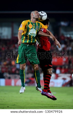 NONTHABURI THAILAND-MARCH 3 :Daniel Alberto Blanco (G)of  Army United F.C. in  action during Thai Premier League between SCGMuangthong Utd.and  Army United F.C. on March3,2013 in Nonthaburi,Thailand - stock photo