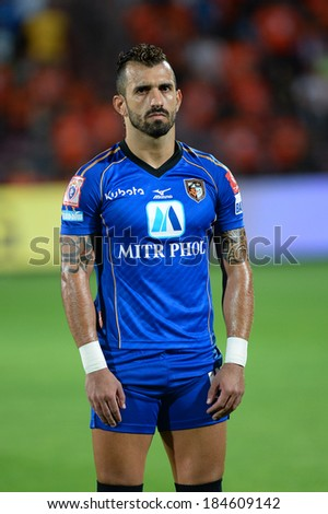 NONTHABURI THAILAND-March 26:Douglas Cardozo of ratchaburi fc.poses during  the Thai Premier League 2014 between ratchaburi fc and SCG Muangthong Utd.at SCG Stadium on Mar 26,2014 in Thailand