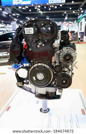 NONTHABURI, THAILAND - March 26: New Engine of Volvo  at The 35th Bangkok International Motor Show on March 26, 2014 in  Nonthaburi, Thailand.