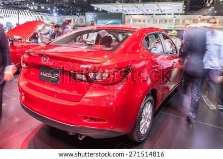Nonthaburi,Thailand - March 26th, 2015: All New Mazda2 Sedan on display ,showed in Thailand the 36th Bangkok International Motor Show on 26 March 2015