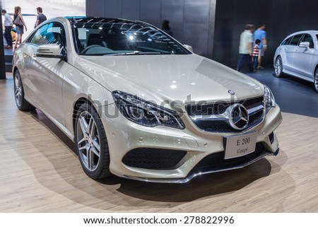 Nonthaburi,Thailand - March 26th, 2015: Benz E200 Coupe on display,showed in Thailand the 36th Bangkok International Motor Show on 26 March 2015