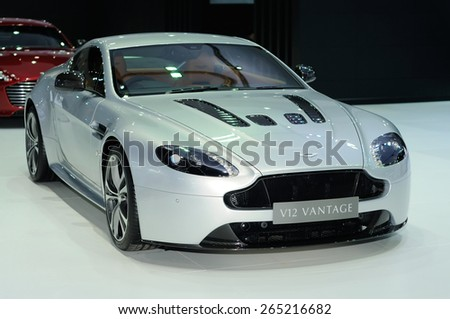 NONTHABURI, THAILAND - March 25: The Aston Martin V12 Vantage S Coupe is on display at The 36th Bangkok International Motor Show on March 25, 2015 in Nonthaburi, Thailand.
