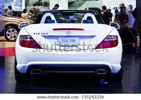 NONTHABURI, THAILAND - MARCH 26: The back side of Mercedes Benz 200 SLK showed in 34th Bangkok International Motor Show on March 26, 2013 in Nonthaburi, Thailand. - stock photo