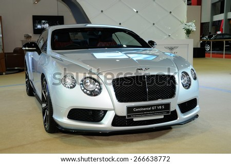 NONTHABURI, THAILAND - March 30: The Bentley Continental GT V8 S is on display at The 36th Bangkok International Motor Show on March 30, 2015 in Nonthaburi, Thailand.