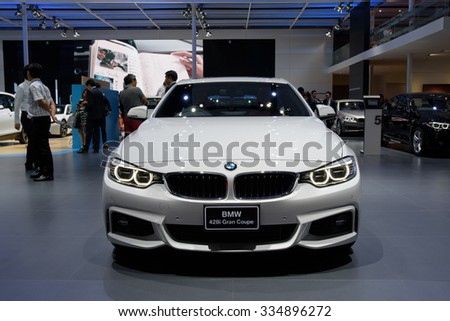 NONTHABURI, THAILAND - MARCH 24: The BMW 428i Gran Coupe is on display at the 36th Bangkok International Motor Show 2015 on March 24, 2015 in Nonthaburi, Thailand.