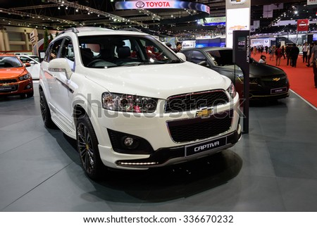 NONTHABURI, THAILAND - MARCH 24: The Chevrolet Captiva is on display at the 36th Bangkok International Motor Show 2015 on March 24, 2015 in Nonthaburi, Thailand.