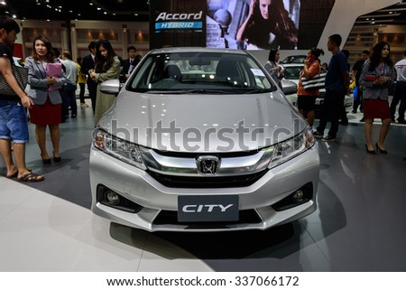 NONTHABURI, THAILAND - MARCH 30: The Honda City is on display at the 36th Bangkok International Motor Show 2015 on March 30, 2015 in Nonthaburi, Thailand.