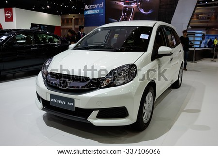 NONTHABURI, THAILAND - MARCH 30: The Honda Mobilio is on display at the 36th Bangkok International Motor Show 2015 on March 30, 2015 in Nonthaburi, Thailand.