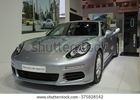 NONTHABURI, THAILAND - MARCH 24: The Porsche Panamera Se-Hybrid is on display at the 36th Bangkok International Motor Show 2015 on March 24, 2015 in Nonthaburi, Thailand.