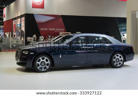 NONTHABURI, THAILAND - MARCH 30: The Rolls Royce Ghost is on display at the 36th Bangkok International Motor Show 2015 on March 30, 2015 in Nonthaburi, Thailand.