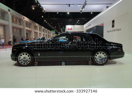 NONTHABURI, THAILAND - MARCH 30: The Rolls Royce Phantom is on display at the 36th Bangkok International Motor Show 2015 on March 30, 2015 in Nonthaburi, Thailand. - stock photo