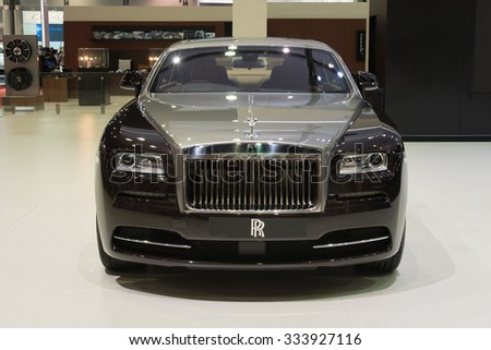 NONTHABURI, THAILAND - MARCH 30: The Rolls Royce Wraith is on display at the 36th Bangkok International Motor Show 2015 on March 30, 2015 in Nonthaburi, Thailand. - stock photo
