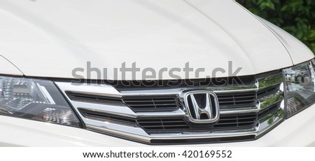 NONTHABURI, THAILAND - MAY 15, 2016: Grille of a honda that is famous in Thailand.