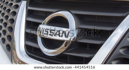 NONTHABURI, THAILAND - MAY 23, 2016: Nissan logo. Famous in Thailand.