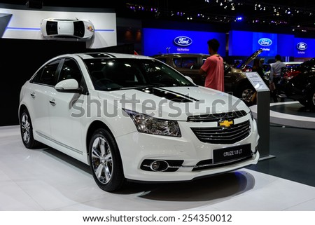 NONTHABURI, THAILAND - NOVEMBER 28: The Chevrolet Cruze 1.8 LT is on display at the 31st Thailand International Motor Expo 2014 on November 28, 2014 in Nonthaburi, Thailand.  - stock photo