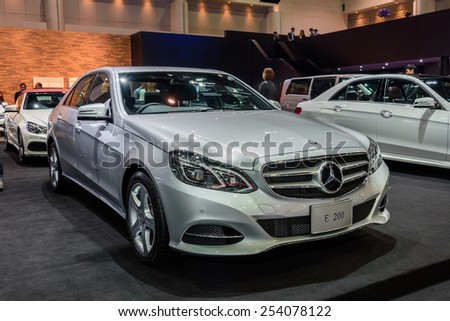 NONTHABURI, THAILAND - NOVEMBER 28: The Mercedes Benz E200 is on display at the 31st Thailand International Motor Expo 2014 on November 28, 2014 in Nonthaburi, Thailand.