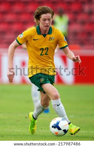 NONTHABURI THAILAND-SEPTEMBER 10:Cameron Riley Joice of Australia in action during the AFC U-16 Championship between Australia and Japan at Muangthong Stadium on Sep10 ,2014,Thailand - stock photo