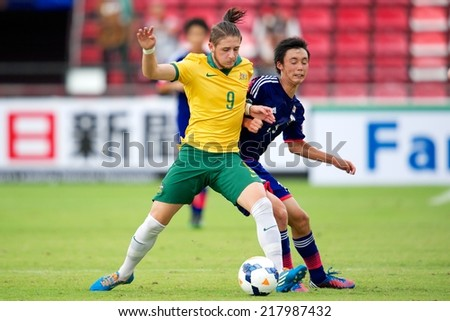 NONTHABURI THAILAND-SEPTEMBER 10:Jake William Brimmer  (L) of Australia in action during the AFC U-16 Championship between Australia and Japan at Muangthong Stadium on Sep10 ,2014,Thailand