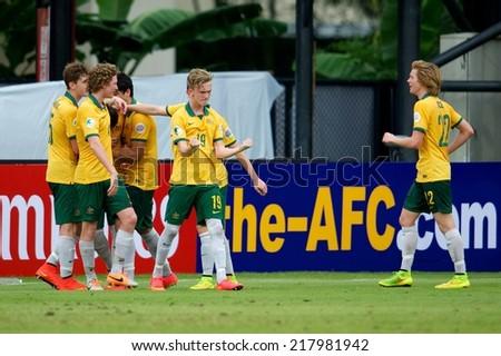 NONTHABURI THAILAND-SEPTEMBER 10:JPlayers of Australia celebrates after score during the AFC U-16 Championship between Australia and Japan at Muangthong Stadium on Sep10 ,2014,Thailand - stock photo