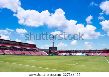 NONTHABURI THAILAND-SEPTEMBER 26:Panoramic view of SCG Stadium before match The Singha Thailand Sevens 2015 between Chinese Taipei and Hong Kong at SCG Stadium on Sep 26, 2015,Thailand