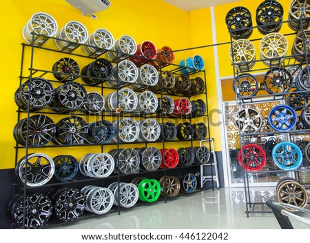 Nonthaburi, Thailand -27 2016 tire shop photos Road No. 3015 in Pathum Thani, about 15 kilometers from downtown. Pathum Thani - stock photo