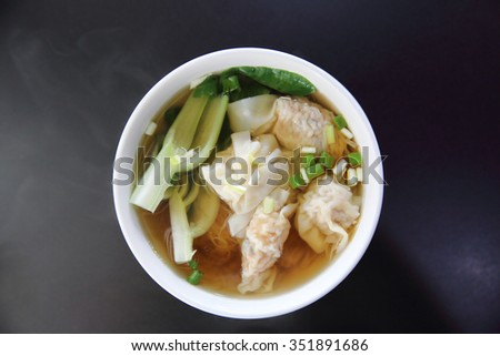 noodle and dumpling in close up - stock photo