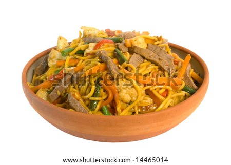 Noodle Beef Stir fry isolated on white background. - stock photo