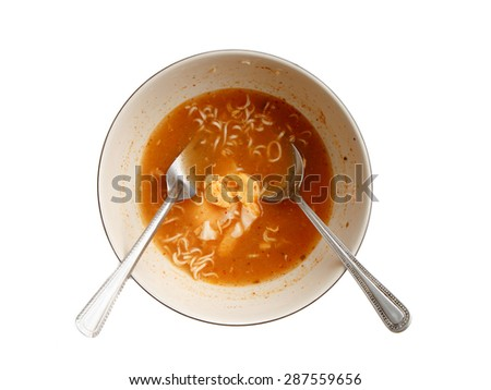 Noodle dirty dish with metal fork and spoon isolated on white background. - stock photo