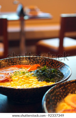 noodle in japanese style on table - stock photo