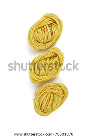 Noodle orderly vertical, Three Chinese yellow noodle arrange orderly vertical. - stock photo