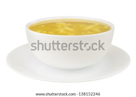 Noodle soup isolated on a white background - stock photo
