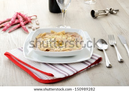noodle soup with beans - stock photo
