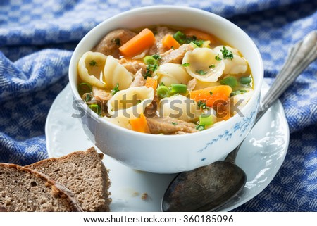 noodle soup with vegetables and soy chunks - stock photo
