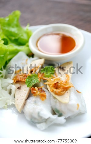 NOODLE Thai apply style vegetables roll. Snacks are beneficial to the body and health. The review of all ages as food in Asia. Stuffed pork, chicken and put meat and vegetables. - stock photo
