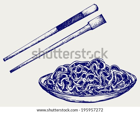 Noodle with chopsticks. Doodle style. Raster version - stock photo