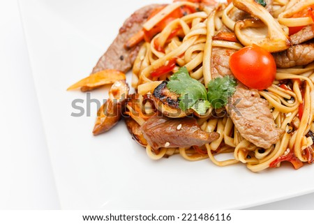 noodle with meat and vegetables - stock photo