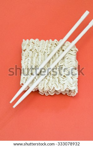 noodles and chopsticks - stock photo