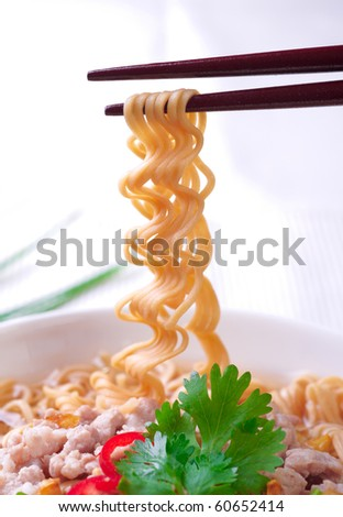noodles on a white background - stock photo