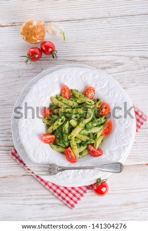 noodles with spinach - stock photo