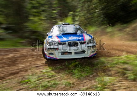 NOOJEE - NOVEMBER 11, 2011: Will Orders and Rian Calder on their way to 4th outright at Rally Victoria. November 11, 2011, Noojee, Vic, Australia. - stock photo
