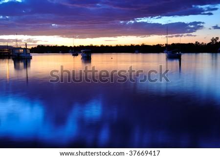 Noosa river sunset - stock photo